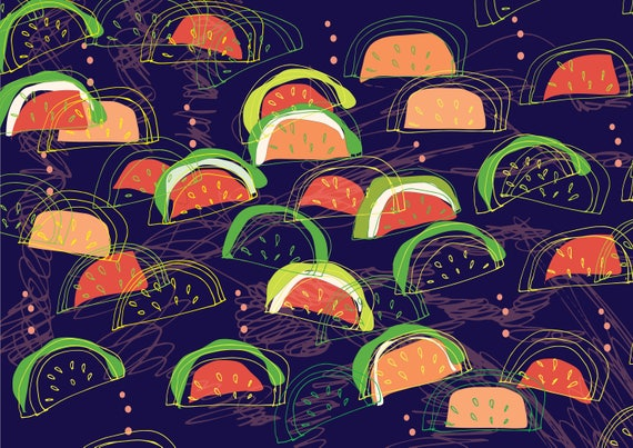 Watermelons  A3 wall art Print.Botanical  Poster Illustration. wall decor.gift