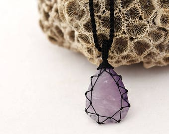 Small gift for him, Amethyst necklace, Lilac purple pendant for men, Purple crystal jewelry, Gemstone everyday necklace, Cord stone pendant