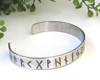 Viking Bracelet Men - Viking Jewelry - Silver Viking Bracelet - Rune Bracelet - Custom Runes or inscription