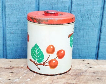 Vintage Canister - Decoware Canister - Cherry Canister