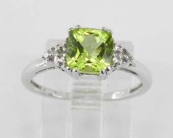 Cushion Cut Peridot and Diamond Promise Engagement Ring White Gold Size 5