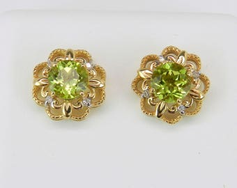 Peridot and Diamond Stud Earrings Halo Studs 14K Yellow Gold August Birthstone