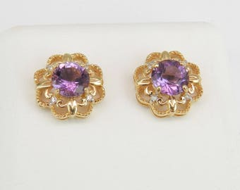 Amethyst and Diamond Stud Earrings Halo Studs 14K Yellow Gold February Gemstone
