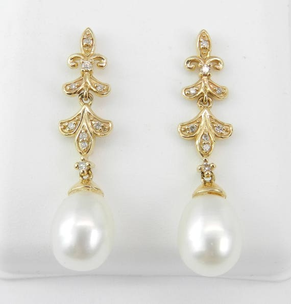 Pearl and Diamond Dangle Drop Earrings Yellow Gold June Birthday Wedding