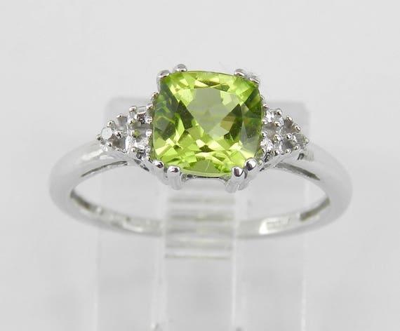 Cushion Cut Peridot and Diamond Promise Engagement Ring White Gold Size 5