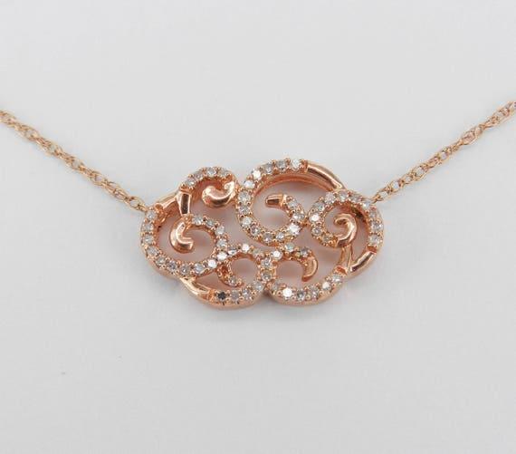 """Rose Gold Diamond Cluster Necklace Unique Filigree Scroll Pendant 18"""" Chain"""
