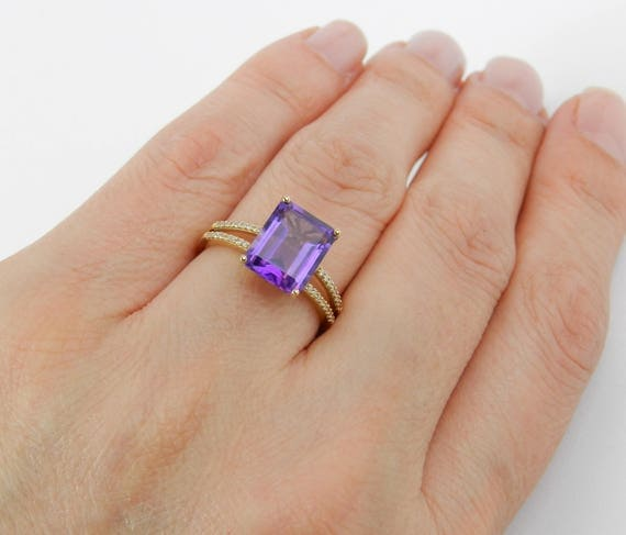 14K Yellow Gold Diamond Emerald Cut Amethyst Engagement Ring size 7 Adjustable