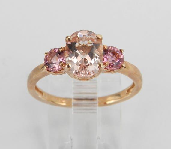 Three Stone Morganite and Pink Tourmaline Engagement Ring Rose Gold Size 7.25