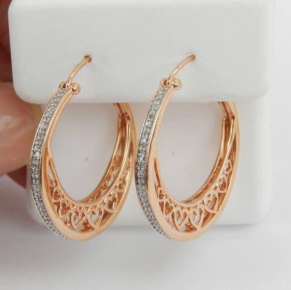 """Rose Gold Diamond Hoop Earrings Heart Design Hoops Gypsy Style 1"""""""