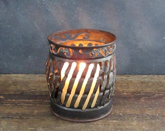 Vintage Recycled Can Candleholder, Cut Tin Can Art, Pierced Tin Metal Candle Holder