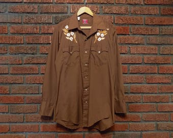 Vintage 80s CHUTE #1 Embroidered Pearl Snap Western Shirt Men's L