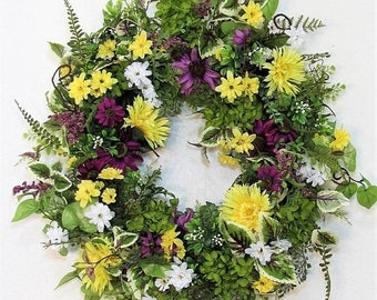WREATH SALE Summer Wreath - Floral Wreath - Spring Door Decor - Farmhouse Wreath - Large Wreath - Hydrangea Wreath - Front Door Wreath - Pur
