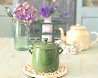 French Vintage Pottery - Soup or Casserole Jar - Crock Jar - Made in France