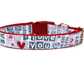 "Valentines Day Dog Collar 1""  Valentines Dog Collar"