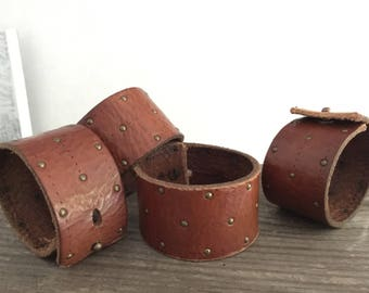 Studded Leather Cuff Bracelet Made w/ Soft Vintage Leather - Limited Edition - Classic Brown w/ Rustic Hitch Clasp - Unisex BOHO Wrist Cuff