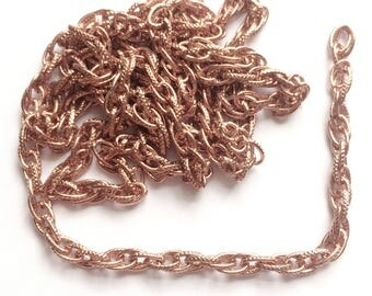 Vintage Rope Connector Chain, 30 Inches, Patterned Rope Chain, Jewelry Making, Rose Gold, Jewelry Chain, Designer Style, B'sue,Item03270