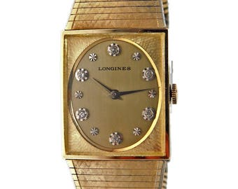 Longines Men's Diamond Watch with Original Box|Manual Wind Swiss Movement 17 Jewels|Yellow Gold Fill| Diamond Markers at Alternating Hours