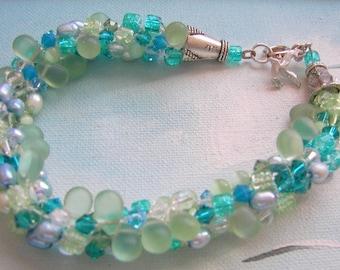 Tropical Beach Wedding Bracelet, Turquoise and Green Kumihimo Bracelet  8 inch Ocean Inspired Jewelry, Chunky Beach Bracelet Beachy Bracelet