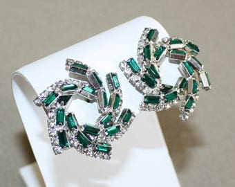 Vintage Hattie Carnegie Pinwheel, Emerald Baguette and Clear Rhinestone Earrings