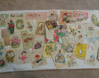 Lot of 39 Vintage Greeting Cards with Assorted Envelopes Various Decades