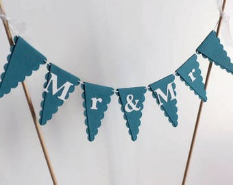 MR & MR Wedding Cake Bunting Topper - Teal and White - Same Sex Wedding, Gay Marriage