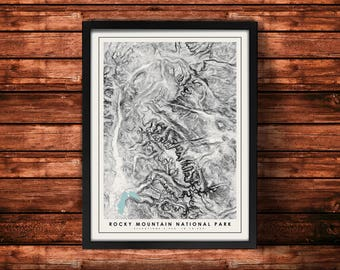 Rocky Mountain National Park Topographic Map Art Print | Rocky Mountain National Park Print | Topographic Art