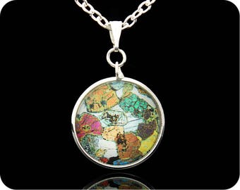 Geology Pendant - Science Jewellery - Peridotite from Ardnamurchan, Scotland rock thin section (P42) - Geology Jewellery - Geologist Gift