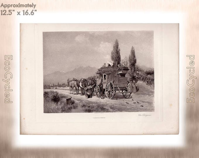 The Diligence by Wordsworth Thompson Antique Photogravure Print stagecoach Goupil Vintage Paper Ephemera ready to frame antique art zyxG1