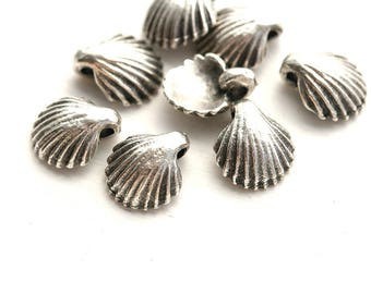 Small shell charms, Antique Silver seashells, Greek beads, nautical charms, tiny shells - 9mm - 8Pc - F596