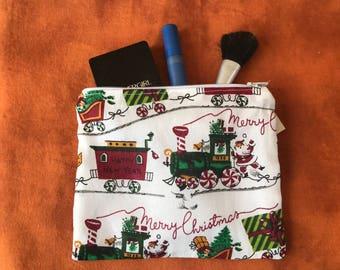 "Merry Christmas train!  Make Up bag- handmade - zipper  lined- 6""X 7"""