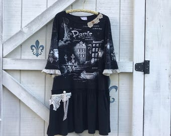 Bohemian hippie dress, XL-XXL, black Paris tunic dress.