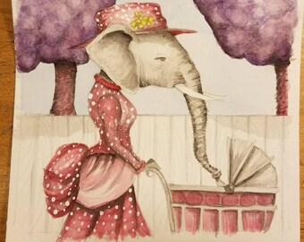 Elephant walk, watercolor original art, artwork, elephant elephant, vintage looking, birthday gift