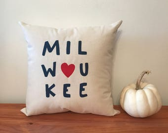 Milwaukee Pillow - Home Decor, Midwest, Dairy State, Wisconsin, Christmas