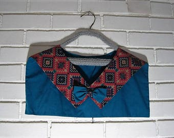 Vtg Indian print bow collar