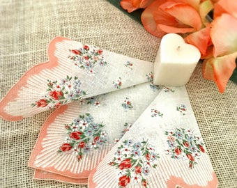 Vintage Handkerchief, Mother of the Bride, Flower Bouquet, Peach, Pink,Red, Wedding, Brides Hanky, Something Old, Bridesmaids Gift 12""