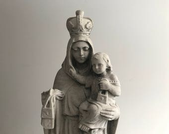 Hand Carved Marble Mother Mary Statue