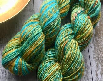 Hand spun 2ply yarn Corriedale/ merino mix Spice trail