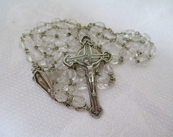 Vintage Rosary Multifaceted Crystal Rosary SPIRITUAL STUNNING!!! † Collectible Vintage Religious