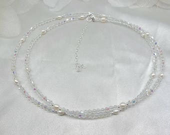 White Pearl Belly Chain Bridal Belly Chain Clear AB Crystal Belly Chain Adjustable Belly Chain Sterling Silver Belly Chain Sexy Jewelry