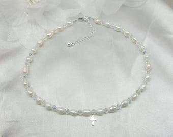 White Pearl Necklace Cross Necklace Clear AB Crystal Necklace Adjustable Necklace 925 Sterling Silver BuyAny3+Get1 Free