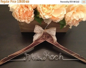 LUCKY SALE Rustic Bridal Hanger / Shabby Chic Wedding Hanger / Brides Hanger / Distressed Hanger / Rustic Wedding / Engraved Wedding Hanger