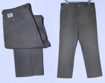 60s Utility Pants Lee Frisko Jean Army Green Chore Work Wear Uniform Workwear Pants 40 x 30