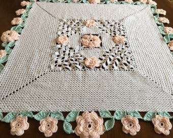"""Custom Hand Crochet Baby blanket,34""""x34"""", white with extensive border of pink roses and mint leaves,many colors,great Baby Shower gift"""