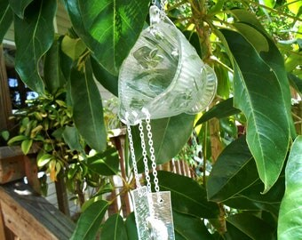 Depression Glass Windchime, Iris and Herringbone Creamer Suncatcher, Stained Glass Wind Chime, Glass Yard Art Garden Decor, Recycled Vintage