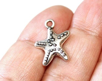 15% OFF - 8 Starfish Charms Antique Silver Tone 2 sided - CH279