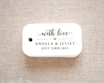 With Love Wedding Favor Tags - Personalized Gift Tags - Bridal Shower - Thank you tags - Party Tags - Favor Bag Tag (Item code: J702)