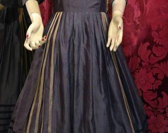Deadstock 1950s L'Aiglon Grey Pleated Linen Striped Day Dress