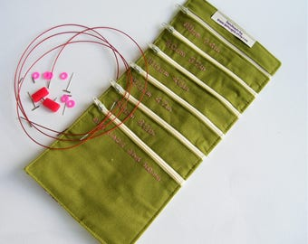 Interchangeable Needle Cable Organiser-  Hedgerow  fabric