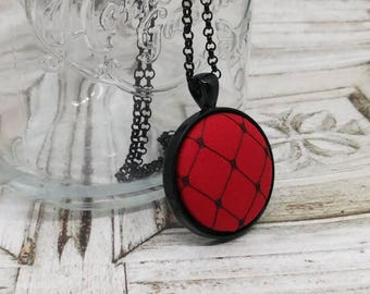 Fabric Pendant Necklace Geometric Necklace Red Silk Black Bird Cage Netting Necklace Art Deco Necklace Fabric Necklace Dupioni Silk Necklace