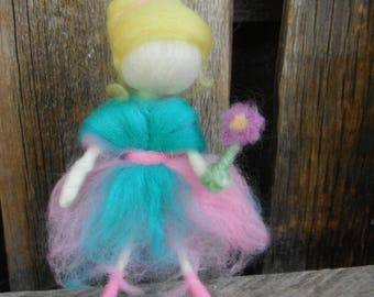 Needle Felted Doll - Waldorf Inspired - Flower Girl